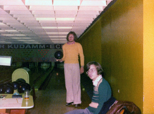On a bowling alley with friend Heinz, 1974.
