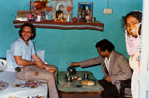 In Mohali, India, with friend Ravinder and his mother, 1983.