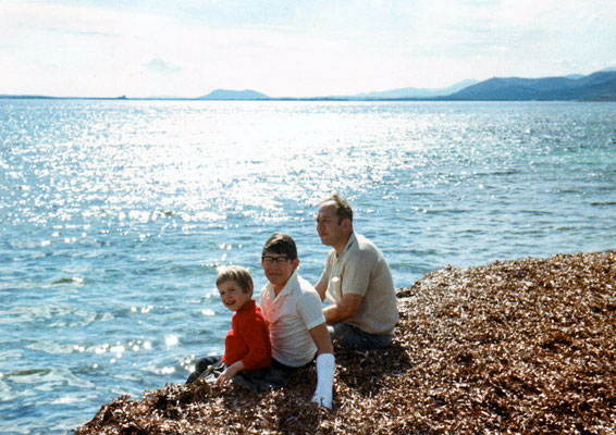 With father and sister Corinna on Mallorca, 1970.