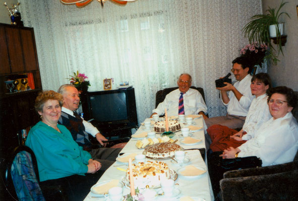 With wife Susanne and relatives in Wismar, Germany, 1995.