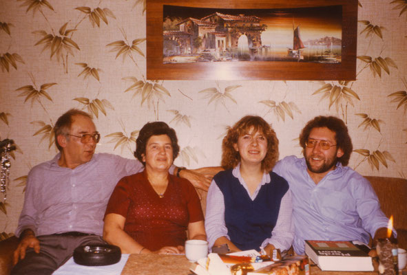 With parents and sister at Christmas, 1982.