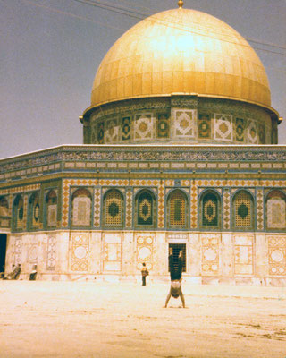 Handstand in front of the Dome of the Rock in Jerusalem, 1980.