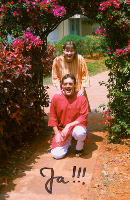 The newly wed couple during a stay at the Institute for Naturopathy and Yogic Sciences (now: Jindal Naturecure Institute) in Bangalore, 1994.
