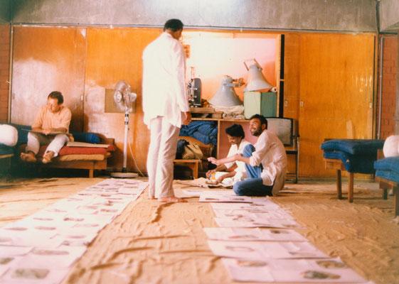 "Preparing the exhibition ""Our days with Bapu"", Gandhi Ashram, Ahmedabad, 1991."