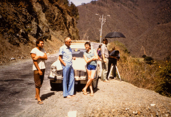 With Herbert Tichy and the Austrian TV team near Rishikesh, 1985.