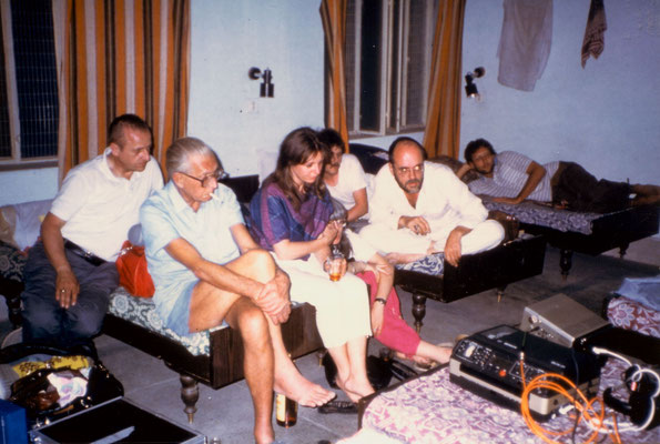 The TV team checking todays recordings, which were done with the first digital camera, Hardwar, 1985.