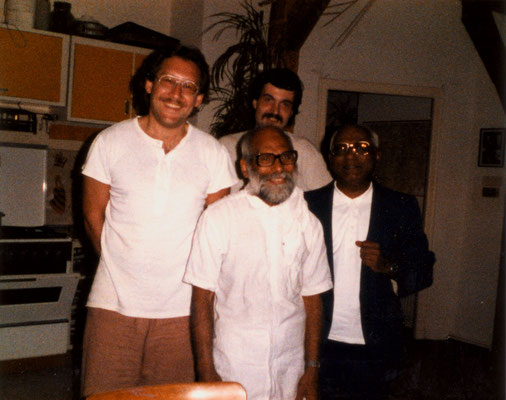 With S.V. Govindan and Prof. Dr. Chandrabhal Tripathi (right), Berlin, 1986.