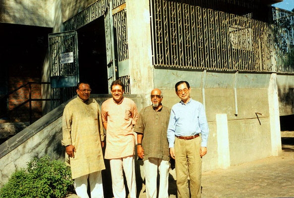 Chittaranjan Vora (director, Shardagram), Peter Rühe, Bill Moyers (USA) and Prof. Minoru Kasai (Japan) during an international Gandhi conference at Gujarat Vidyapith, Ahmedabad, 1994