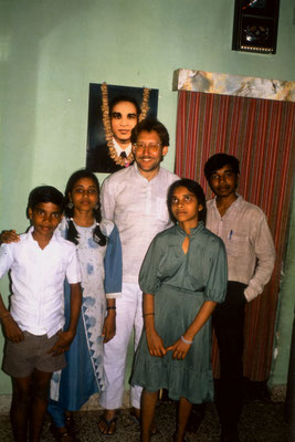 With Latha (second left),  a staff member of the Gandhi Ashram, Ahmedabad, and her siblings, 1989.