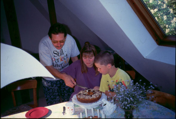 With wife Susanne and young Florian Hoffmeier, Berlin, 1995.