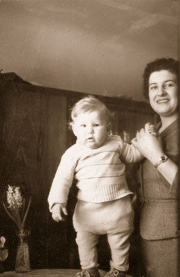 With mother, 1958.