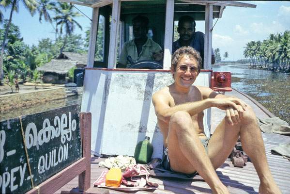 On the ferry from Quilon to Allepey in Kerala, 1985.