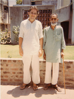 With Prof. C.N. Patel, chief editor of the Gujarati edition of the Collected Works of Mahatma Gandhi, Ahmedabad, 1986.