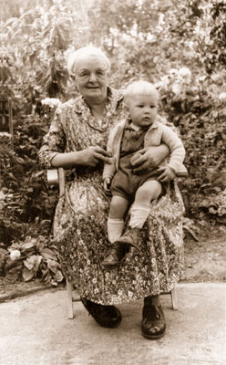 With paternal grandmother, 1959.