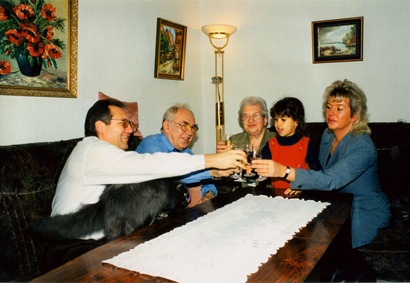 With father, mother, niece Julietta and sister Corinna in Berlin, 1998.