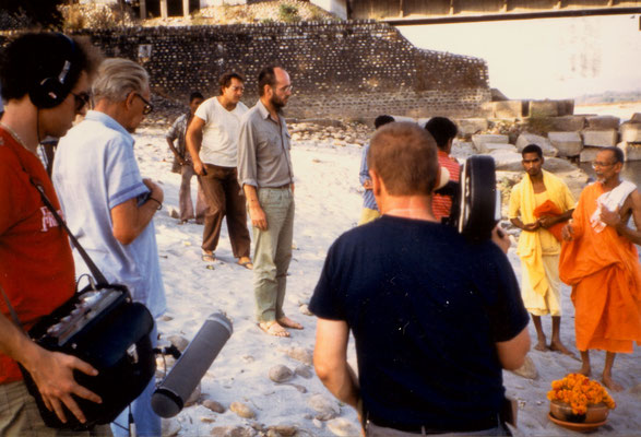 With Herbert Tichy (second left), director Götz Hagmüller (centre) and Swami Chitananda Saraswati (right) shortly before delivering Mirabehn's ashes into Ganga near Hardwar, 1985.