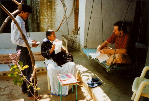 With Madalsabehn Bajaj in her house in Gopuri, India, 1993.