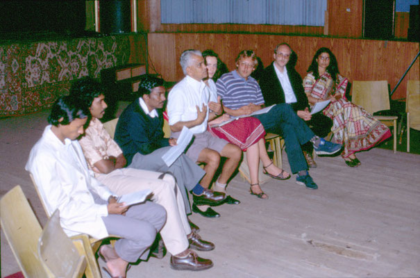 With Indian social worker, Subba Rao, and his colleagues during a programme at UFA-Fabrik, Berlin-Tempelhof, 1984. Second right: Hans-Hermann Dube.