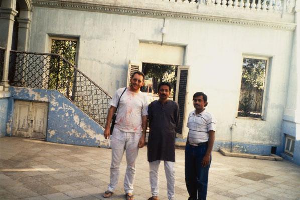 With Yogehbhai Goda and Pareshbhai Shah in Bhavnagar during Holi, 1991.