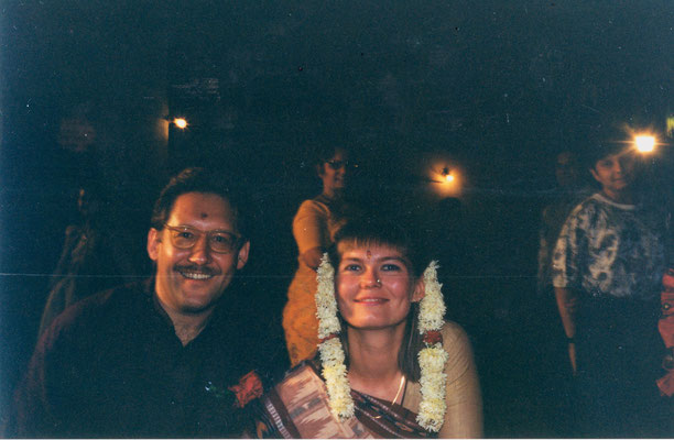 The newly wed couple during the reception at Rashtriyashala Ashram, Rajkot, Gujarat, 1994. The photograph was taken by Prabhudasbhai Gandhi.