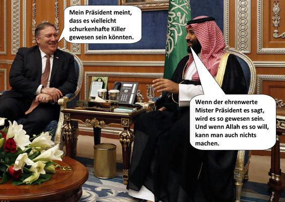 War first Todestrilogie Teil 1, US-Außenminister Mike Pompeo, Kronprinz Mohammed bin Salman, Tod des Journalisten Jamal Khashoggi 2018