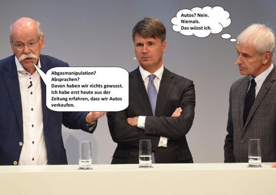 Vor dem Gipfel: Abgasmanipulation-Absprachen: Daimler (Dieter Zetsche), BMW (Harald Krüger) und VW (Matthias Müller).