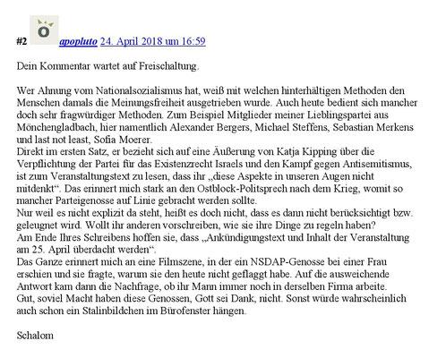 Nicht veröffentlichter Kommentar ruhrbarone.de