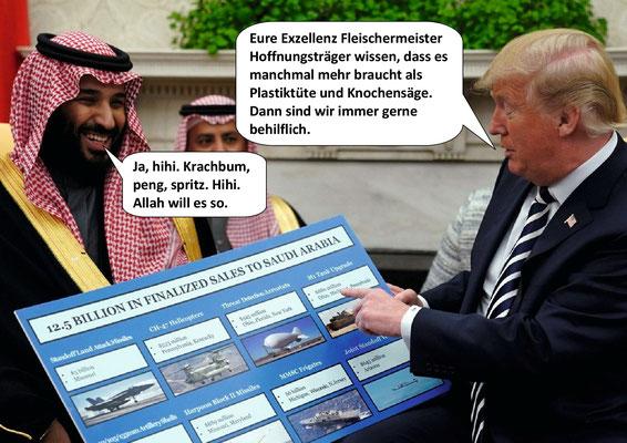 War first Todestrilogie Teil 3, Donald Trump, Mohammed bin Salman; Tod des Journalisten Jamal Khashoggi