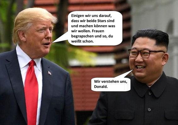 Donald Trump, Kim Jong Un,