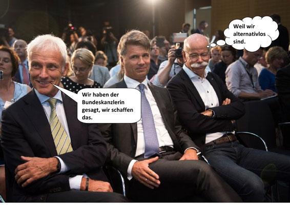 Nach dem Gipfel: Abgasmanipulation-Absprachen: VW (Matthias Müller), BMW (Harald Krüger) und Daimler (Dieter Zetsche).