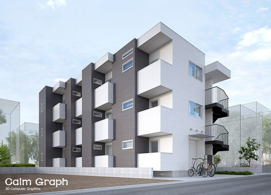 小規模集合住宅パース アパートパース