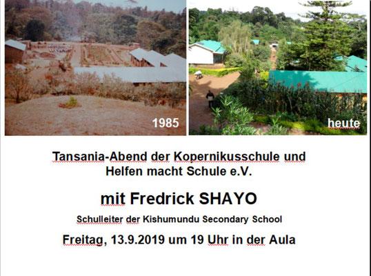 Am 13. September fand in der Kopernikusschule Freigericht ein Tansaniaabend mit unserem tansanischen Gast Fredrick Shayo statt.
