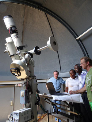 Visit at the stars observatory of Kopernikusschule with Michael Pieke, Kishumundu Seconday School visitor of 2015.