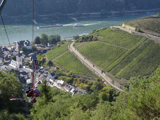 Cable car ride above the Wine Fields at Rhine river.