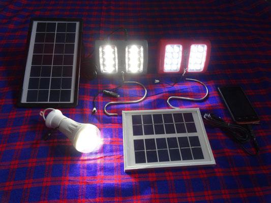 Die beiden linken LED-Lampen erzeugen ca. 200 Lumen, die rechte Lampe ca. 100 Lumen Licht.