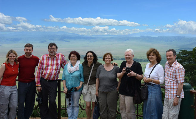 German visitors at the rim of the Ngorongoro Crater.