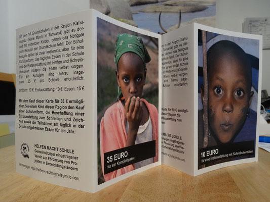 Unsere neuen Spendenkarten für bedürftige Grundschüler.