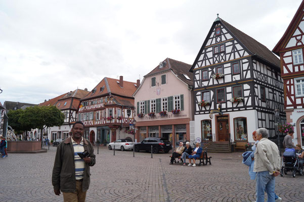 Market place with it´s old wooden-frame houses.