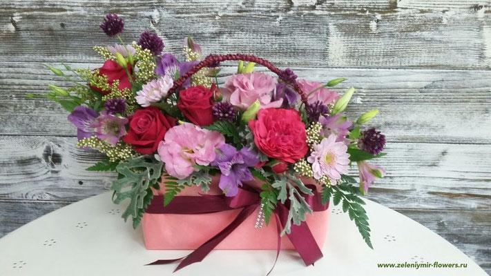 цветочная композиция в коробке купить миллерово