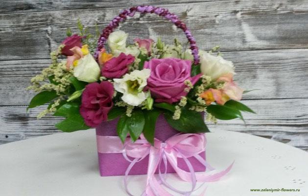 цветочная композиция в коробке купить боковская