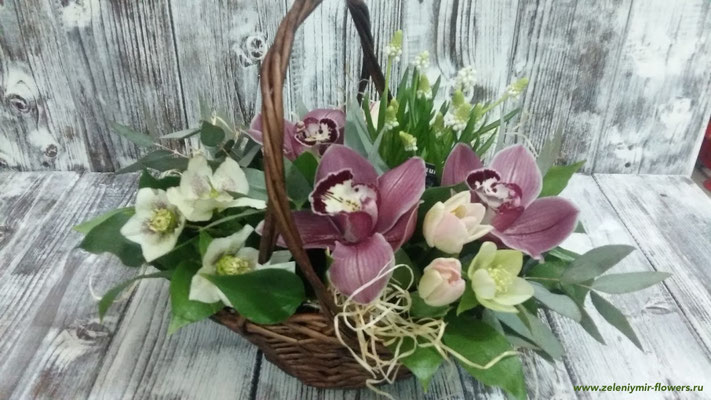 цветы в корзине купить казанская