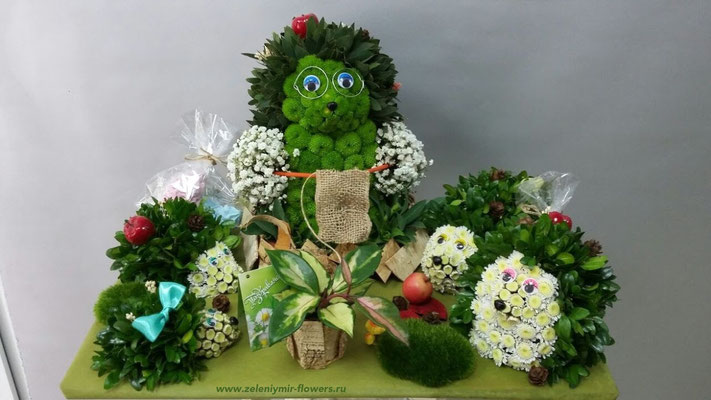 цветочная композиция с игрушкой купить казанская