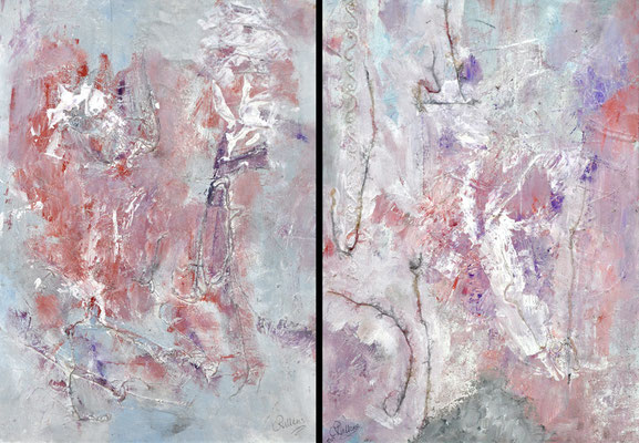 Mystic I & II, paper on panel, mixed media, both 90 x 70 cm in aluminum frame