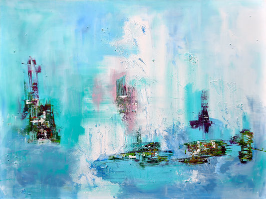Sailing Away, canvas, mixed media,  160 x 120 cm
