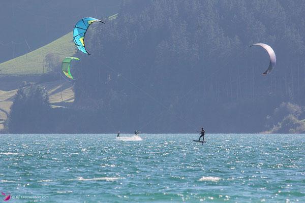 Kitefoilen am Reschensee