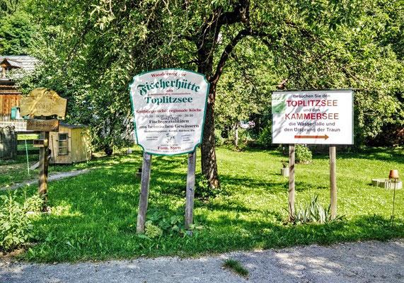 Schilder zum Toplitzsee im Salzkammergut
