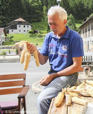 Landmais, weißer Mais, Sepp Brandstätter, Landwirt, Lifetravellerz.com