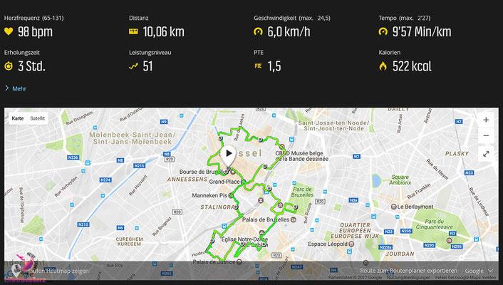 Laufübersicht beim Sightjogging in Brüssel by Lifetravellerz