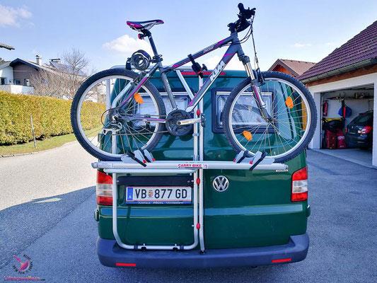 VW T5 Bus Ausbau Fahrradträger am VW Bus
