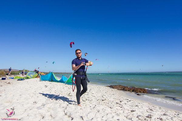 Kitesurfen in Sharkbay Langebaan